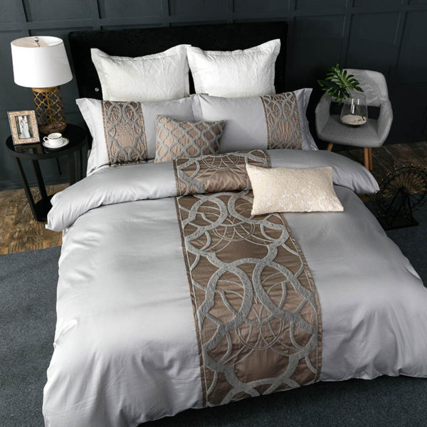 Grey white Bed Sheet Pillowcase Duvet cover set Luxury 60S Egyptian cotton queen king double size Bedding set Bed linen 1