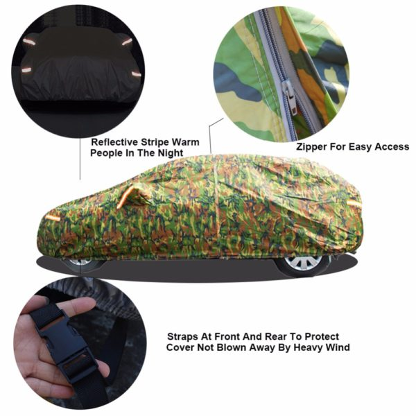 Kayme waterproof camouflage car covers outdoor sun protection cover for car reflector dust rain snow protective suv sedan full 2