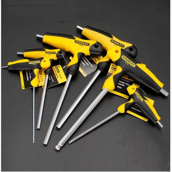 Stanley comfortable T-handle allen wrench 2mm/2.5mm/3mm/4mm/5mm/6mm/7mm/8mm/10mm T shape hexagon wrenches  t hex keys S2 steel 3