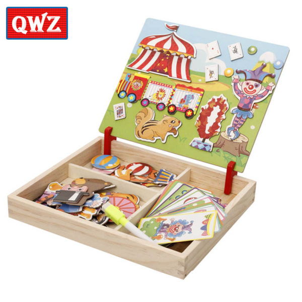 QWZ Wooden Kids Educational Toys Magnetic Puzzles Game Set Easel Dry Erase Board Fun Reusable Stickers For Children Gifts 3