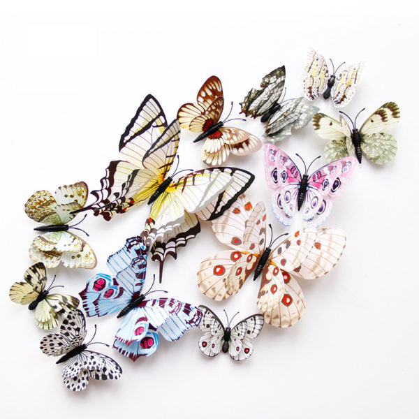 New style 12Pcs Double layer 3D Butterfly Wall Sticker on the wall Home Decor Butterflies for decoration Magnet Fridge stickers 2