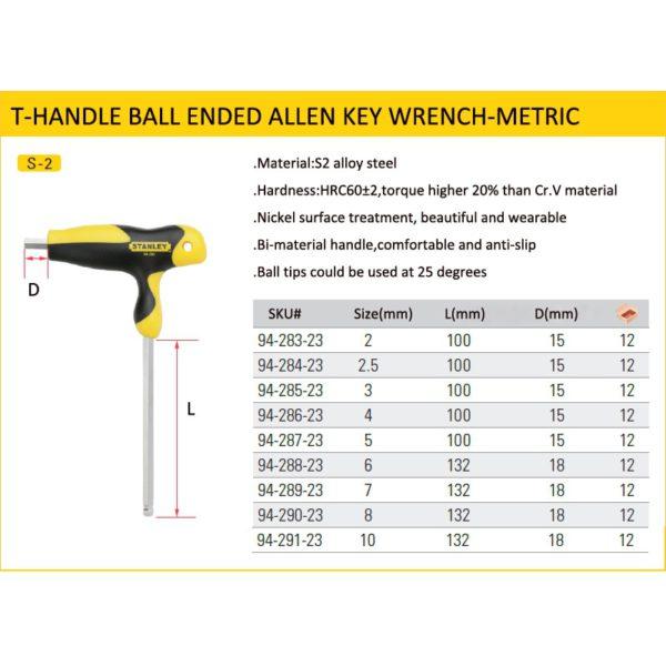Stanley comfortable T-handle allen wrench 2mm/2.5mm/3mm/4mm/5mm/6mm/7mm/8mm/10mm T shape hexagon wrenches  t hex keys S2 steel 5