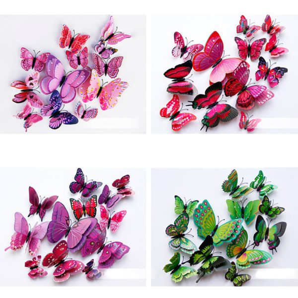 New style 12Pcs Double layer 3D Butterfly Wall Sticker on the wall Home Decor Butterflies for decoration Magnet Fridge stickers 5