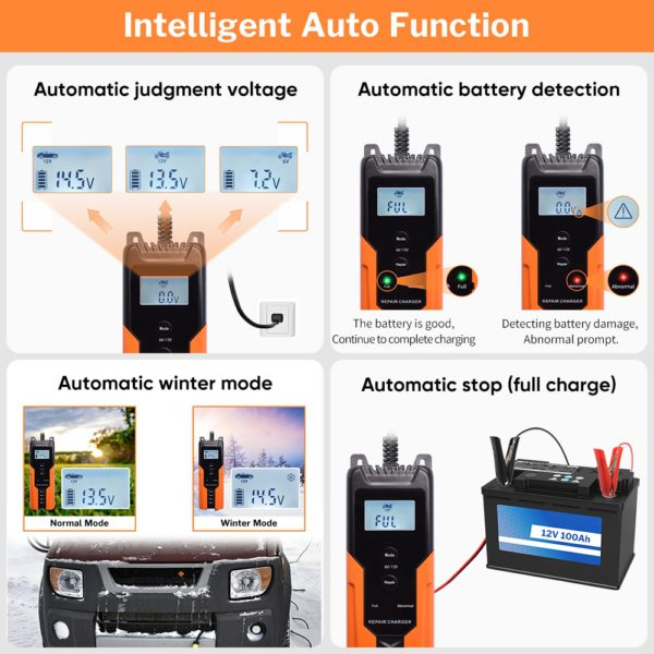 Deelife Automatic Car Battery Charger 12V Intelligent Auto Pulse Repair Maintainer Trickle Charging for Motorcycle Moto 6V 12 V 1