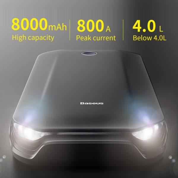 Baseus Car Jump Starter Battery Power Bank Portable 12V 800A Vehicle Emergency Battery Booster for 4.0L Car Power Starter 3