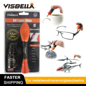 VISBELLA 5 Second Fix UV Light Pen Glue Super Powered Liquid Plastic Adhesive for Metal Wood Ceramic Glass Repair Hand Tool Sets