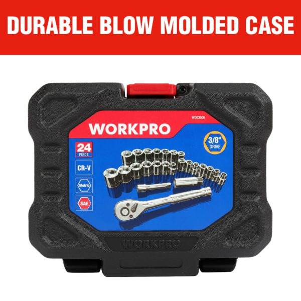 "WORKPRO 24PC Tool Set Torque Wrench Socket Set 3/8"" Ratchet Wrench Socket Spanner 3"