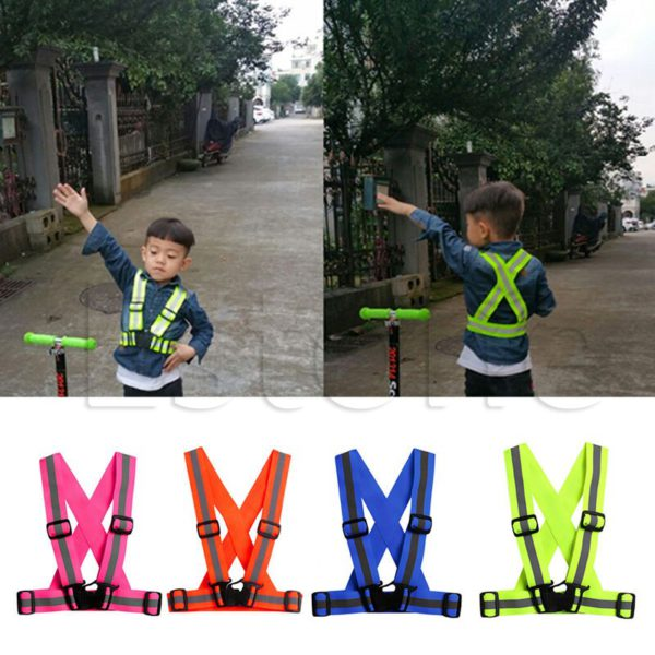 Children Kids Safety Adjustable Safety Reflective Visibility Striped Vest Jacket Highlight For Night Riding Cycling Sports 2