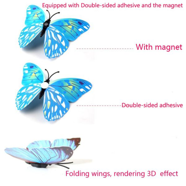 New style 12Pcs Double layer 3D Butterfly Wall Sticker on the wall Home Decor Butterflies for decoration Magnet Fridge stickers 4