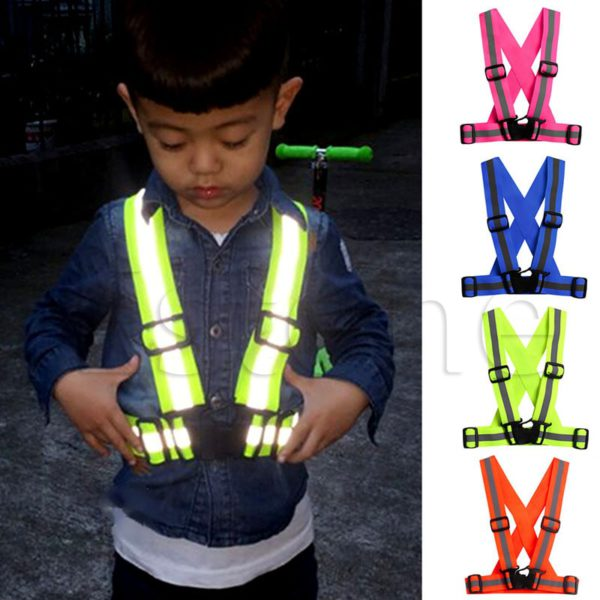 Highlight Reflective Straps Night Running Riding Clothing Vest Adjustable Safety Vest Elastic Band For Adults and Children 3
