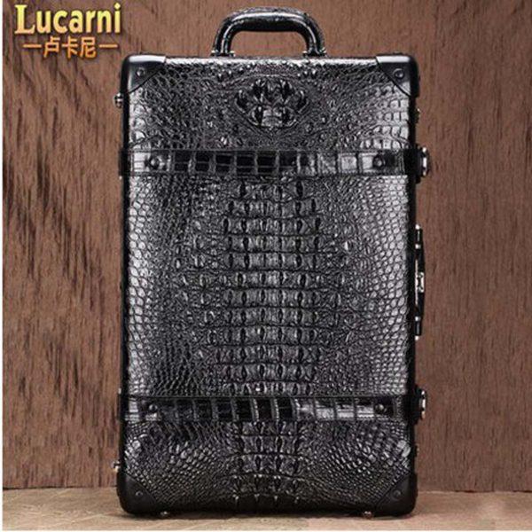 lukani  crocodile skin men Pull rod box men Travelling Suitcase 4
