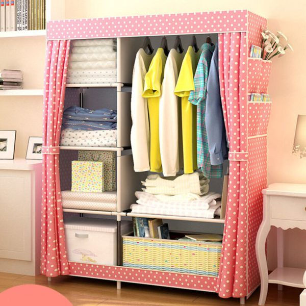 Actionclub Simple Fashion Wardrobe DIY Non-woven Fold Portable Storage Cabinet Multifunction Dustproof Moistureproof Closet 3