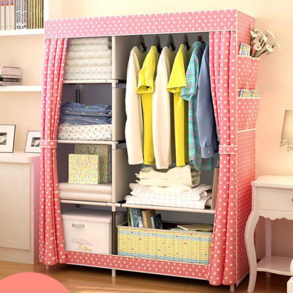 Actionclub Simple Fashion Wardrobe DIY Non-woven Fold Portable Storage Cabinet Multifunction Dustproof Moistureproof Closet 3
