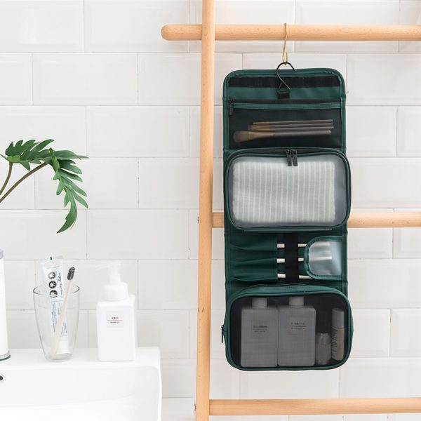 HMUNII New Fashion Women's PU Leather Waterproof Toiletries Storage Bag Beauty Organizer  Foldable Travel Accessories Unisex 3