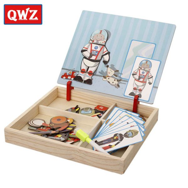 QWZ Wooden Kids Educational Toys Magnetic Puzzles Game Set Easel Dry Erase Board Fun Reusable Stickers For Children Gifts 4