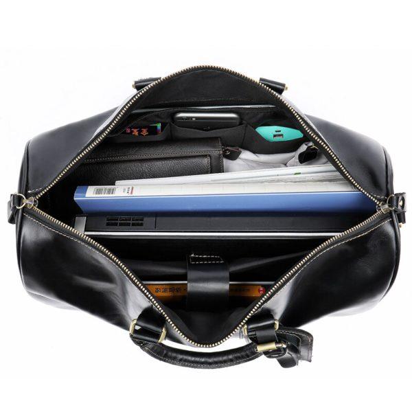 WESTAL Men Genuine Leather Travel Bag for Luggage 4