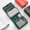 HMUNII New Fashion Women's PU Leather Waterproof Toiletries Storage Bag Beauty Organizer  Foldable Travel Accessories Unisex