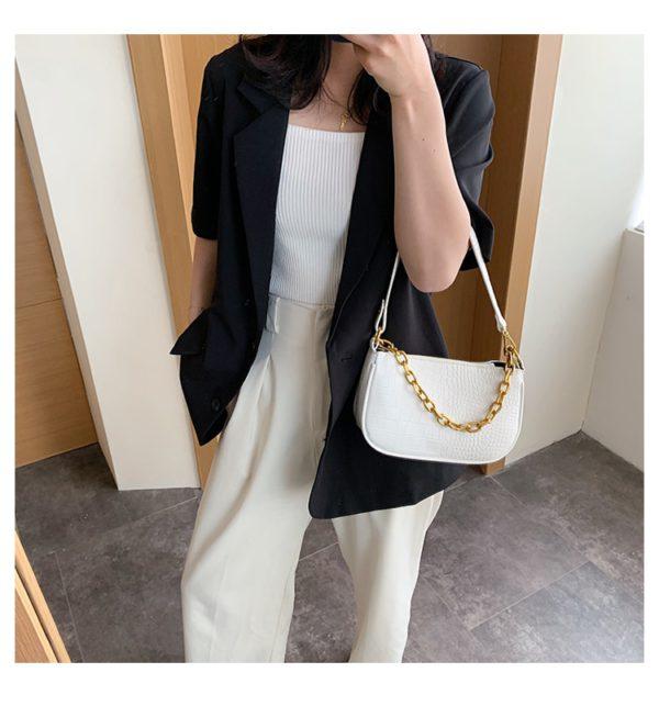 Chains baguette shape bag animal print alligator leather blue shoulder bag women ladies 2020 summer new handbag white black 4