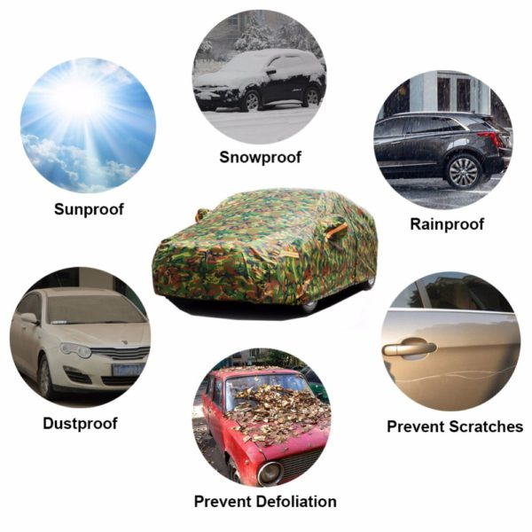 Kayme waterproof camouflage car covers outdoor sun protection cover for car reflector dust rain snow protective suv sedan full 1