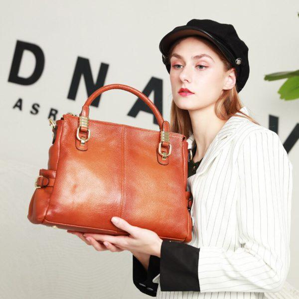 Luxury Brand Women Leather Handbag Genuine Leather Casual Tote Bags Female Big Shoulder Bags for Women Purses Bolsas 2020 C1262 5