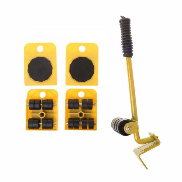 Furniture Mover Tool Set Furniture Transport Lifter Heavy Stuffs Moving Tool 4 Wheeled Mover Roller+1 Wheel Bar Hand Tools Set 3