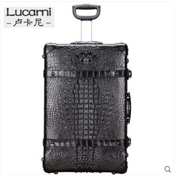 lukani  crocodile skin men Pull rod box men Travelling Suitcase 1