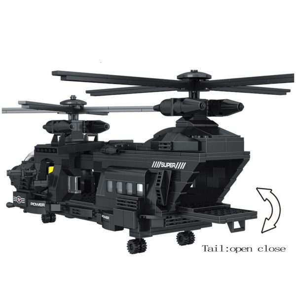 City SWAT Building Blocks Transport Helicopter Team Special Police Force Model