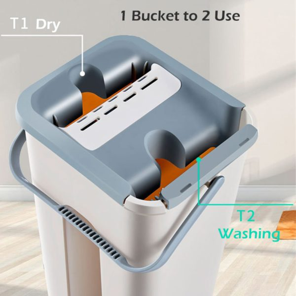 Free Hand Washing Flat Mop with Bucket Lazy 360 Rotating Magic Mop With Squeezing Floor Cleaner Mop Household Cleaning Tool 3