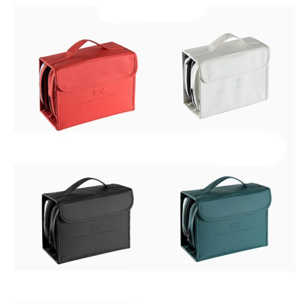 HMUNII New Fashion Women's PU Leather Waterproof Toiletries Storage Bag Beauty Organizer  Foldable Travel Accessories Unisex 2