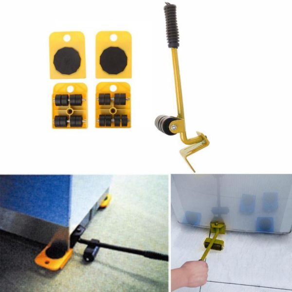 Furniture Mover Tool Set Furniture Transport Lifter Heavy Stuffs Moving Tool 4 Wheeled Mover Roller+1 Wheel Bar Hand Tools Set 1