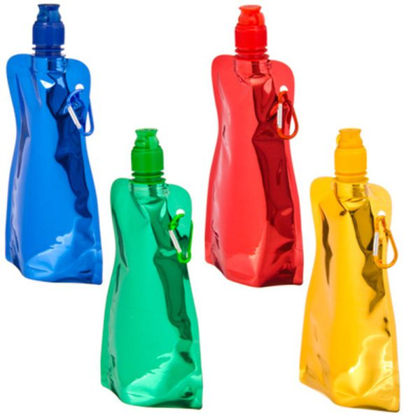 FOLDING FLASK WITH CARABINE 400ML for hiking and walking for tourists children beautiful comfortable bright 1
