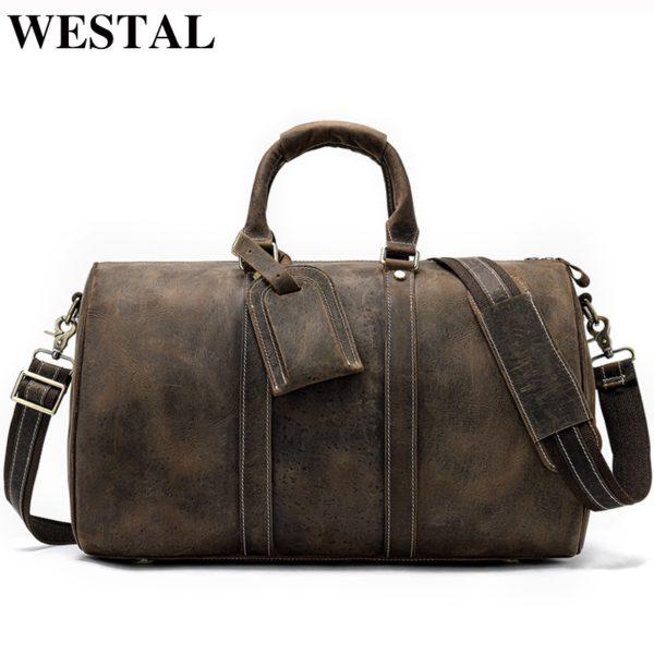 WESTAL Men Genuine Leather Travel Bag for Luggage
