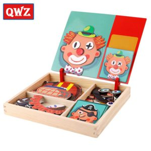QWZ Wooden Kids Educational Toys Magnetic Puzzles Game Set Easel Dry Erase Board Fun Reusable Stickers For Children Gifts