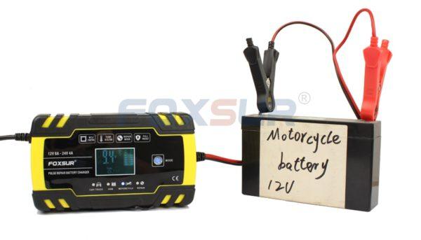 FOXSUR 12V 24V 8A Automatic Smart Battery Charger, 3-stage smart Battery Charger, Car Battery Charger for GEL WET AGM Battery 2