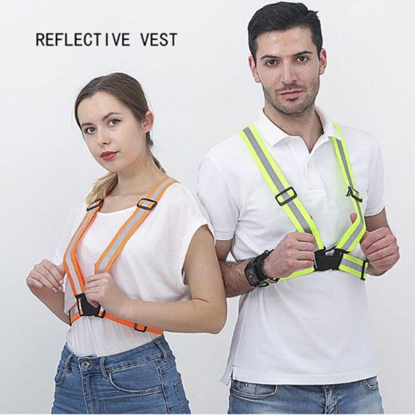Children Kids Safety Adjustable Safety Reflective Visibility Striped Vest Jacket Highlight For Night Riding Cycling Sports 5