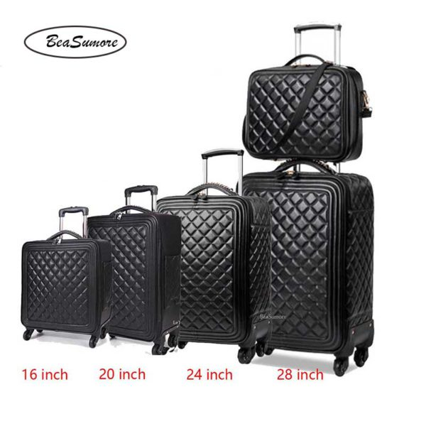 BeaSumore Retro Leather Rolling Luggag