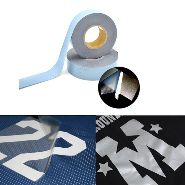 High Visibility Safety Heat-transfer Vinyl Film DIY Silver Reflective Iron on Fabric Clothing Tape 2