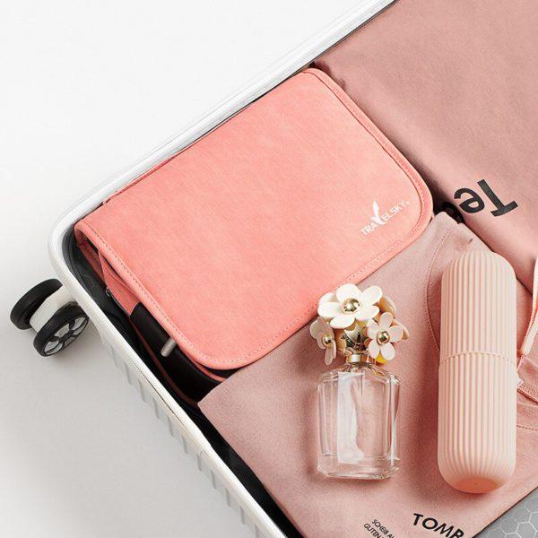 HMUNII Travel Cosmetics Storage Bag Women Waterproof Oxford Makeup Bags Bathroom Organizer Of Portable Bath Hook Toiletry Bags 3
