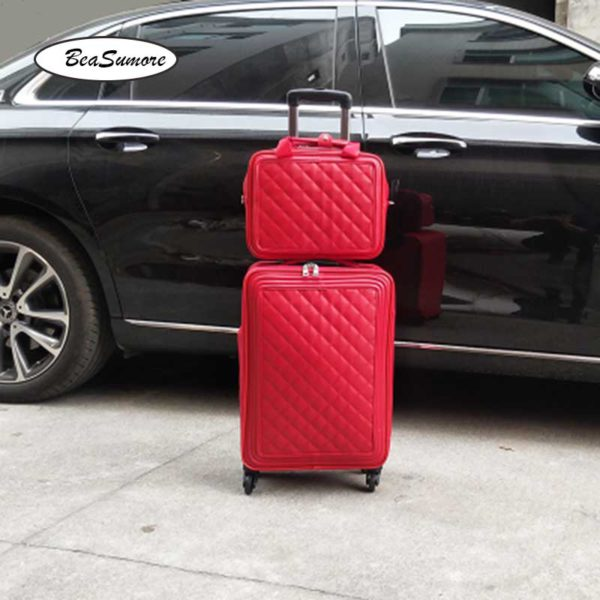 BeaSumore Retro Leather Rolling Luggag 4
