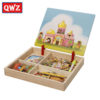 QWZ Wooden Kids Educational Toys Magnetic Puzzles Game Set Easel Dry Erase Board Fun Reusable Stickers For Children Gifts 1