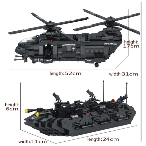 1351pcs Military Swat Team Special Police Force Transport Helicopter Building Blocks City Army Bricks Educational DIY Toy 4