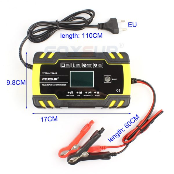 FOXSUR 12V 24V 8A Automatic Smart Battery Charger, 3-stage smart Battery Charger, Car Battery Charger for GEL WET AGM Battery 5